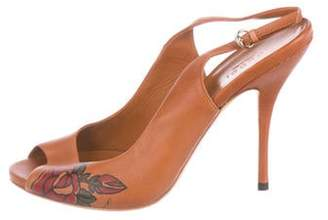 Gucci Leather Peep-Toe Pumps w/ Tags Brown Leather Peep-Toe Pumps w/ Tags
