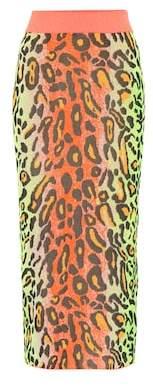 Stella McCartney Neon Leopard knitted skirt