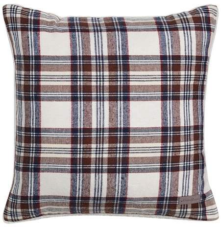 Navy Edgewood Plaid Flannel Sherpa Throw Pillow (20
