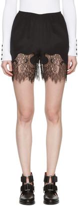 McQ Alexander McQueen Black Fluid Lace Shorts $370 thestylecure.com