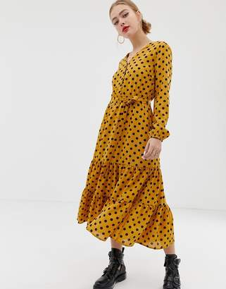 Only textured spot maxi shirt dress