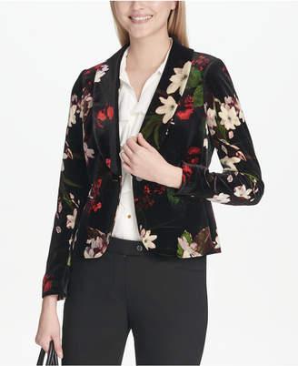 Calvin Klein Floral-Print Cropped Velvet Jacket