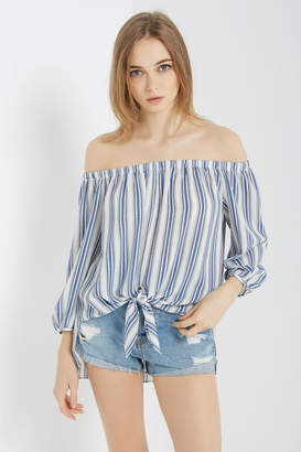 Soprano Denim-Blues Stripe Top
