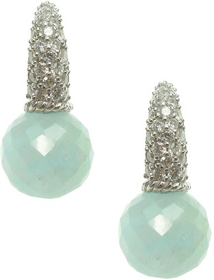 Judith Ripka Sterling Milky Aquamarine & Diamonique Earrings