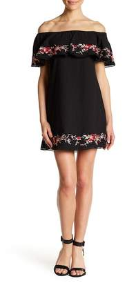 Lucy Paris Terra Off-the-Shoulder Floral Embroidered Dress
