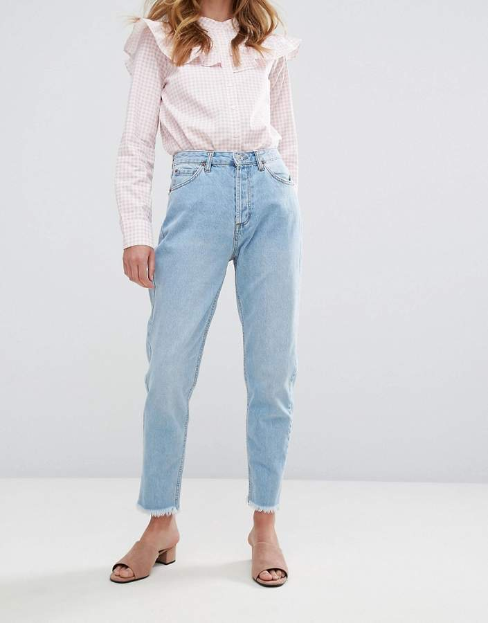 Pull&Bear Raw Hem Mom Jeans