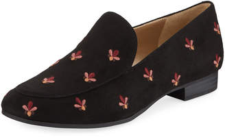 Sam Edelman Harlem Embroidered Faux-Suede Loafers