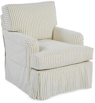One Kings Lane Ashley Swivel Club Chair - White/Blue