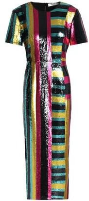 Diane von Furstenberg Striped Sequined Midi Dress