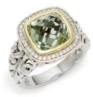 14K White Gold, 18K Yellow Gold, Sterling Silver, Green Amethyst & Diamond Ring