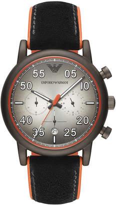 Emporio Armani Men Chronograph Black Leather & Orange Rubber Strap Watch 43mm