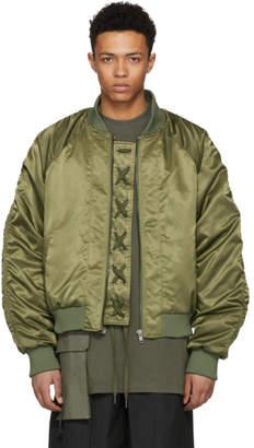 D by D Khaki Placket String Bomber Jacket