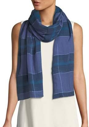 Eileen Fisher Grid-Pattern Organic Cotton Scarf