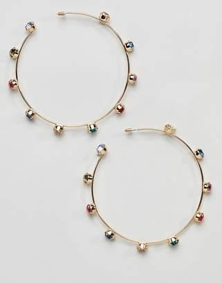 Missguided Diamonte Rainbow Stud Detail Hoops