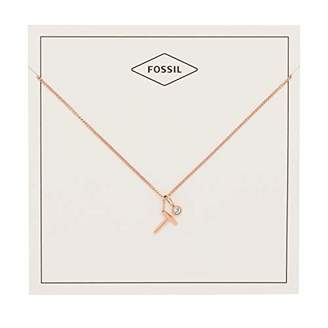 fossil womens letter t tone stainless steel necklace