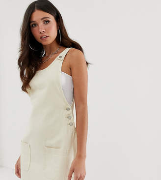 Missguided pinafore mini dress in cream denim