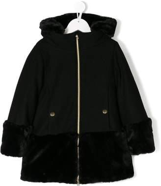 Herno Kids faux fur panelled coat