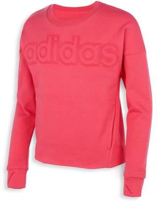 adidas Girl's Linear Logo Crewneck Sweatshirt