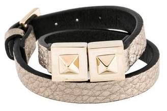 Valentino Two-Stud Leather Wrap Bracelet