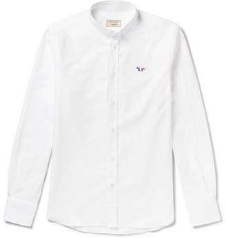 MAISON KITSUNÉ Slim-fit Button-down Collar Logo-appliqued Cotton Oxford Shirt - White