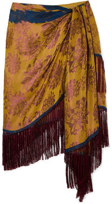 Oscar de la Renta Wrap-effect Fringed Silk-jacquard Mini Skirt - Yellow