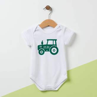 Owl & Otter Personalised Tractor Baby Grow