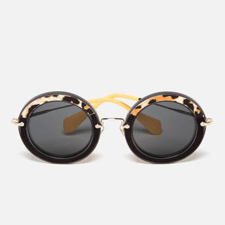 Miu Miu Women's Round Oversized Sunglasses Transparent Grey