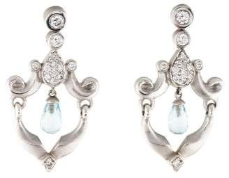 18K Diamond-Accented Aquamarine Drop Earrings