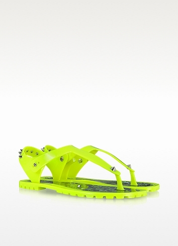 Marc by Marc Jacobs Neon Yellow Rubber Jelly Thong Sandals