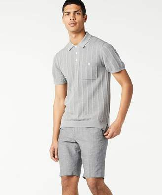 Todd Snyder Cotton Silk Ribbed Knit Polo in Grey