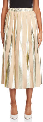 Alysi Metallic Pleated Maxi Skirt