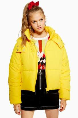 Topshop Yellow Hooded Puffer Jacket