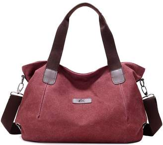 HEMAY Women's Casual Canvas Shoulder Bag Travel Simple Handbag Satchel