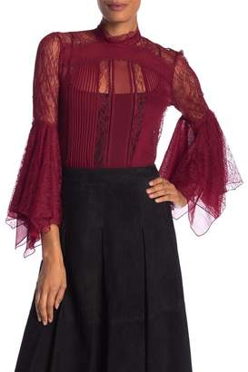 Alice + Olivia Ivy Lace Bell Sleeve Silk Blouse