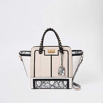 River Island Beige snake print contrast winged tote bag