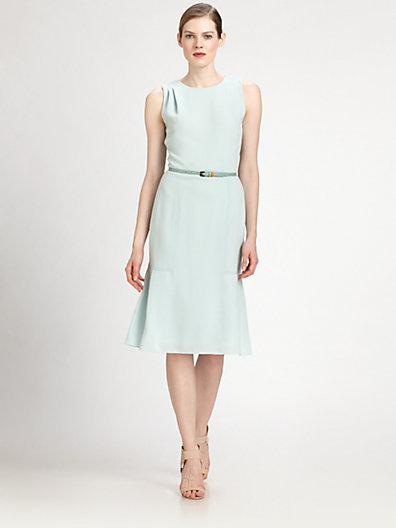Carolina Herrera Belted Crepe Dress