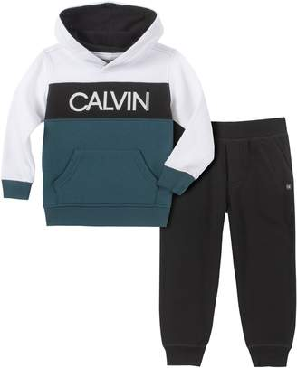 Calvin Klein Little Boy's 2-Piece Cotton-Blend Fleece Hoodie Jogger Pants Set