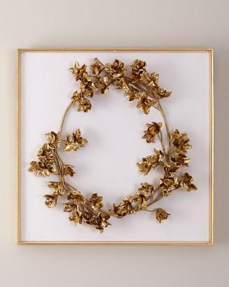 John-Richard Collection John Richard Collection Golden Floral Crown on White Velvet Wall Art