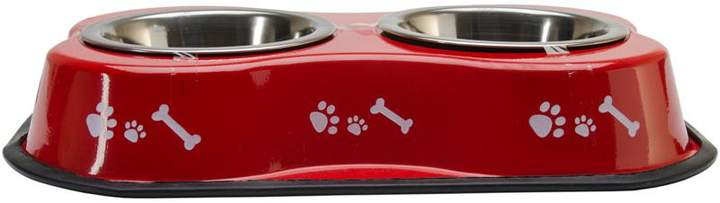 Buddy's Line Buddy's Bone-Shaped Double Diner with 2 One-Pint Stainless Steel Bowls - Bones and Paw Print - Blue