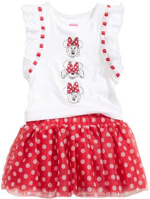 Disney Disney's Minnie Mouse 2-Pc. Graphic-Print Top & Dot-Print Skirt Set, Baby Girls