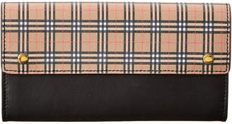 Burberry Small Scale Vintage Check & Leather Continental Wallet