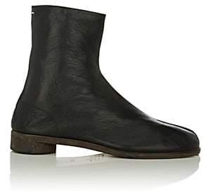 Maison Margiela Men's Tabi Split-Toe Leather Boots-Black
