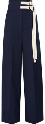 Marni - Canvas-trimmed Wool Wide-leg Pants - Navy
