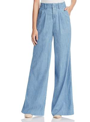 Alice + Olivia Eloise Wide-Leg Chambray Trousers $295 thestylecure.com