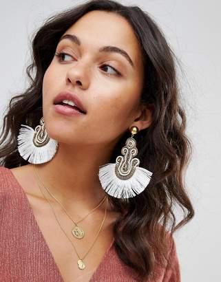 Asos DESIGN Embroidered Tassel Earrings