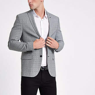 River Island Mens Grey check super skinny fit blazer