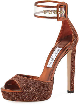 Jimmy Choo Mayner Metallic Fabric High Dressy Platform Sandals