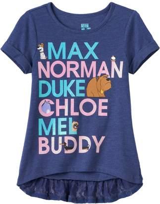 "Disney Pixar The Life of Pets ""Max, Norman, Duke, Chloe, Mel & Buddy"" Girls 4-6x High-Low Tee"