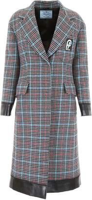 Prada Check Coat With Contrast Hems