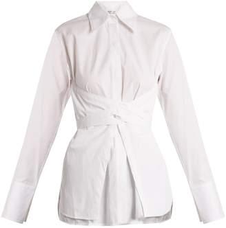 Helmut Lang Corset-waist cotton-poplin shirt